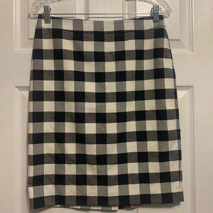 Ann Taylor Black & White Check Knee Length Skirt